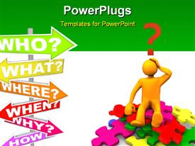 PowerPoint template displaying human character sitting on colored puzzles and sign post with different questions