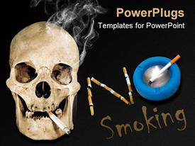PowerPoint template displaying skull with lit cigarette no smoking, blue ashtray