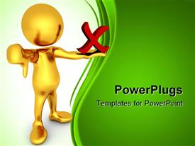 PowerPoint template displaying negativity metaphor with gold person giving thumbs down and holding red X