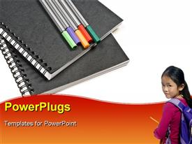 PowerPoint template displaying a kid with a bag and pencils in the background