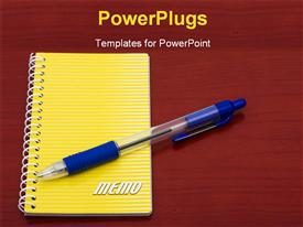 Bright yellow notepad and pen on table template for powerpoint