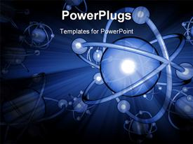 PowerPoint template displaying blue 3D atoms on blue backgrounds