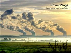 PowerPoint template displaying the sunset View with Nuclear power Stations