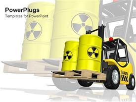 PowerPoint template displaying caution hazards  truck lift with yellow hazard containers  danger zone