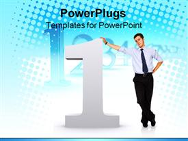 PowerPoint template displaying man standing next to and resting on large 3D number one