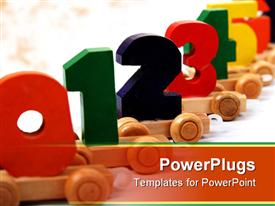 PowerPoint template displaying isolated educational wooden toy cars with numbers from nil to nine in the background.