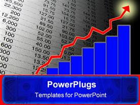PowerPoint template displaying indicate growth with fluctuation and steady increase of numbers