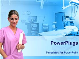 PowerPoint template displaying healthcare theme smiling nurse pink uniform holding patient file record hospital room background