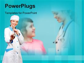 PowerPoint template displaying smiling female doctor with stethoscope with young boy in blue background