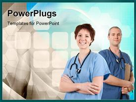 PowerPoint template displaying two doctors with a bluish background
