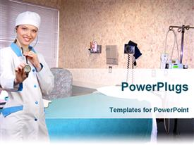 PowerPoint template displaying nurse wearing stethoscope in exam room