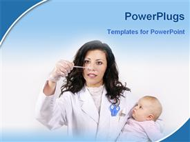 PowerPoint template displaying a doctor checking the health condition of a child