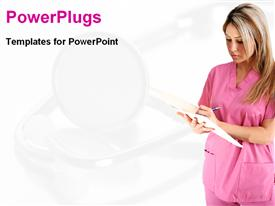 PowerPoint template displaying blond nurse dressed in pink checking medical report sheet with faded stethoscope on white background