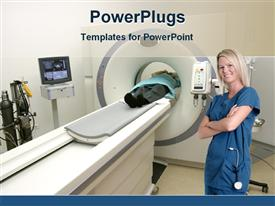 PowerPoint template displaying nurse in city scan testing lab in the background.