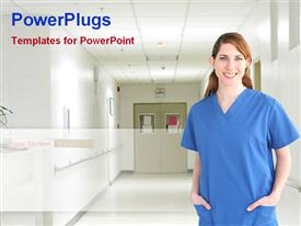 PowerPoint template displaying nurse in hospital