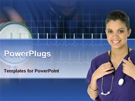 PowerPoint template displaying nurse in a hospital with stethoscope in the background.