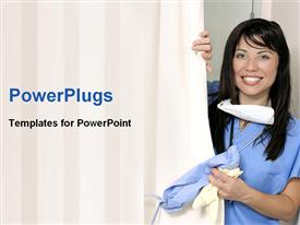 PowerPoint template displaying smiling nurse with stethoscope around neck pulls curtain to patient room aside