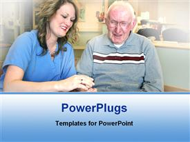 PowerPoint template displaying nurse attending adult elderly male hospital setting