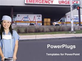 PowerPoint template displaying female nurse in scrubs and surgical mask standing outside emergency department in front of two ambulances