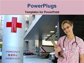 PowerPoint template displaying nurse pink scrubs hospital parking garage near emergency sign