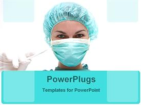PowerPoint template displaying a surgeon with a mask and glove in the hand ready for a surgery