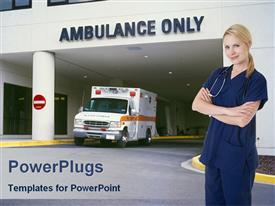 PowerPoint template displaying smiling nurse standing front hospital entrance written ambulance
