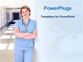 PowerPoint template displaying pretty female nurse stethoscope blue scrubs