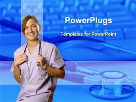 PowerPoint template displaying female doctor with a stethoscope hanging round her neck smiling