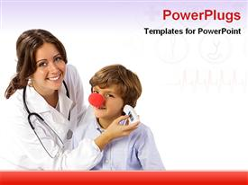 PowerPoint template displaying smiling female nurse taking temperature of small boy wearing clown nose