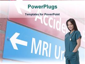 PowerPoint template displaying smiling nurse with sign leading to MRI unit