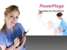 PowerPoint template displaying a smiling lady in medical outfit with people at the background