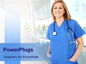 PowerPoint template displaying pretty young woman nurse outside hospital building in the background.