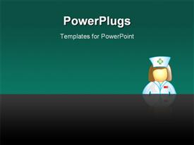 PowerPoint template displaying stylized icon of a female nurse (file 1 of 20 in this series)