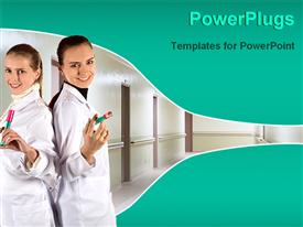 PowerPoint template displaying two pretty nurses holding injections hospital setting