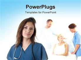 PowerPoint template displaying close-up of Hispanic nurse with medical personnel's attending to patient