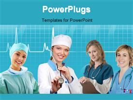 PowerPoint template displaying team of nurses with stethoscope across neck and evaluation notes