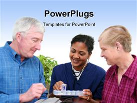 PowerPoint template displaying minority woman giving healthcare to senior at home