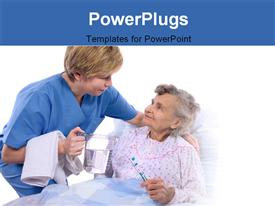 PowerPoint template displaying nurse helping an old women at hospital bed