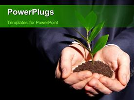 PowerPoint template displaying unrecognizable person in formal suit holding a handful of soil with a sprout in the background.