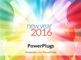 PowerPoint template displaying new year 2016 concept with colorful balloons in the background