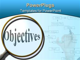 PowerPoint template displaying magnifying glass focused on objectives, flowchart