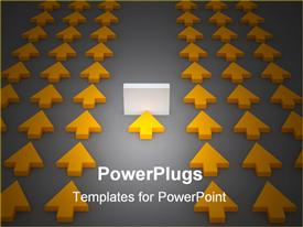 PowerPoint template displaying d rendered depiction representing a group of arrows. One is stopped by an obstacle