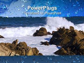 PowerPoint template displaying pacific Grove - Monterey California Coastline with Waves Crashing Against Rocks