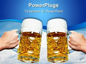 PowerPoint template displaying two Oktoberfest beers on a Bavarian blue sky background and white clouds