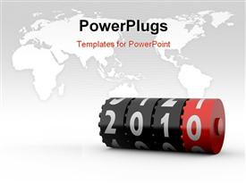 PowerPoint template displaying new Year 2010. Calendar Series. More concept depictions available in the background.