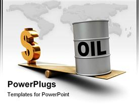 PowerPoint template displaying increase oil prices gradually