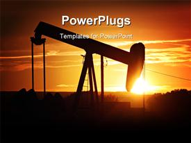PowerPoint template displaying oil pump silhouette against a bright orange sky