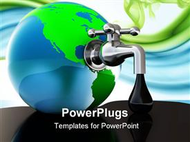 PowerPoint template displaying oil faucet in earth globe