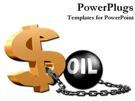 PowerPoint template displaying dollar sign with oil ball and chain