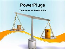 Coins and oil drum on a balance. Digital illustration powerpoint design layout